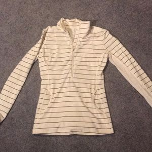 Cream/blue stripe pullover with lace